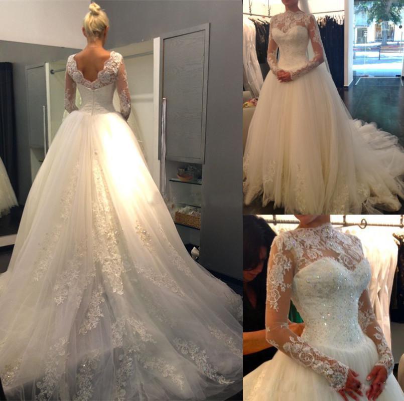 Ivory Vestido De Noiva See Through Casamento A line Robe De Mariage Long Sleeve Bridal Gown Lace Wedding Dresses 2016 OH90993(China (Mainland))