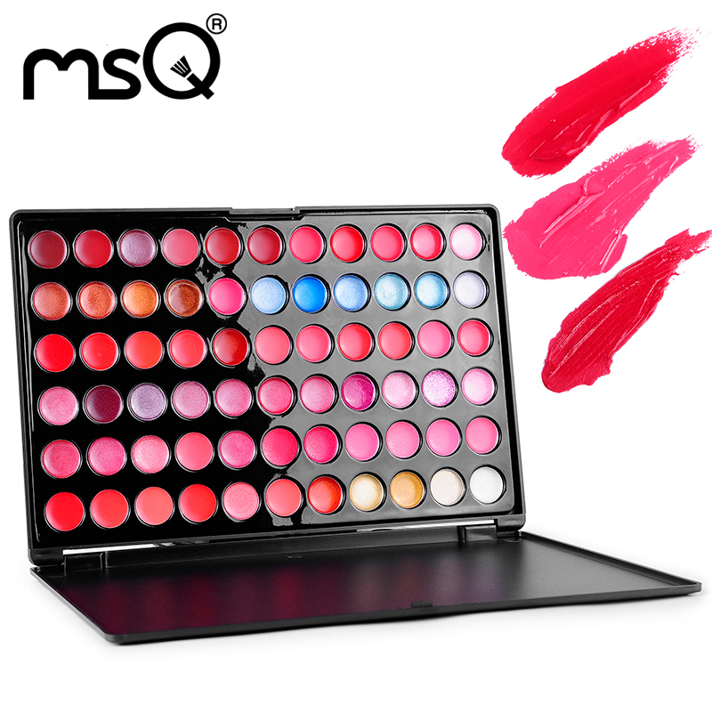 5pcs/set MSQ Professional 66 Colors Lip Gloss Palette High Quality Multi-colors Lipstick Makeup Hot sale !(China (Mainland))