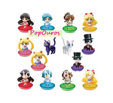 2016 High Quality figures PVC Cute Sailor Moon Action Figures With Cats Usagi Tsukino 12Pcs/Set Beauty Girl Toys For Collection
