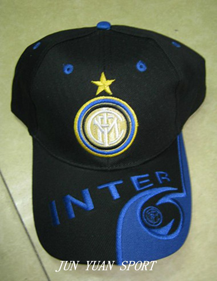 Top sell ! 100% cotton black blue sports football baseball caps Adjustable soccer Inter Milan hats,Free shipping!(China (Mainland))