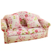 1 Set 1:12 Dollhouse Miniature Mini Model Toys Double Red Flower Small Sofa Dollhouse Model Accessories(China (Mainland))