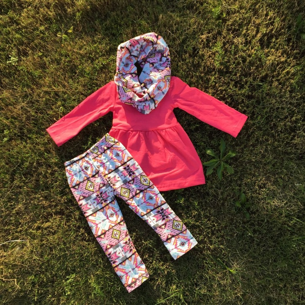 baby clothes FALL OUTFITS persnickety girls 3 pieces girls pant sets girls boutique clothes kids hot pink top scarf sets