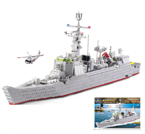 Military Building Block Set Compatible lego guided missile destroyer 3D Construction Brick Educational Hobbies Toys Kid