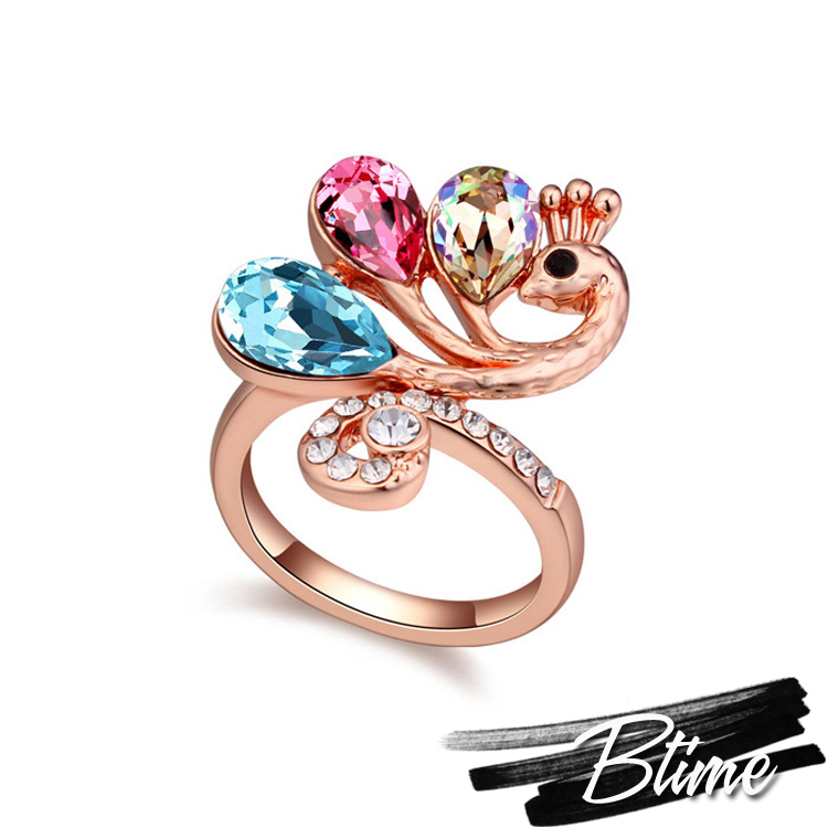 Top Sale Made with SWAROVSKI ELEMENTS Crystal Rose Gold Rings for Women Vintage Fashion Phoenix Ring Wedding Fine Jewelry(China (Mainland))