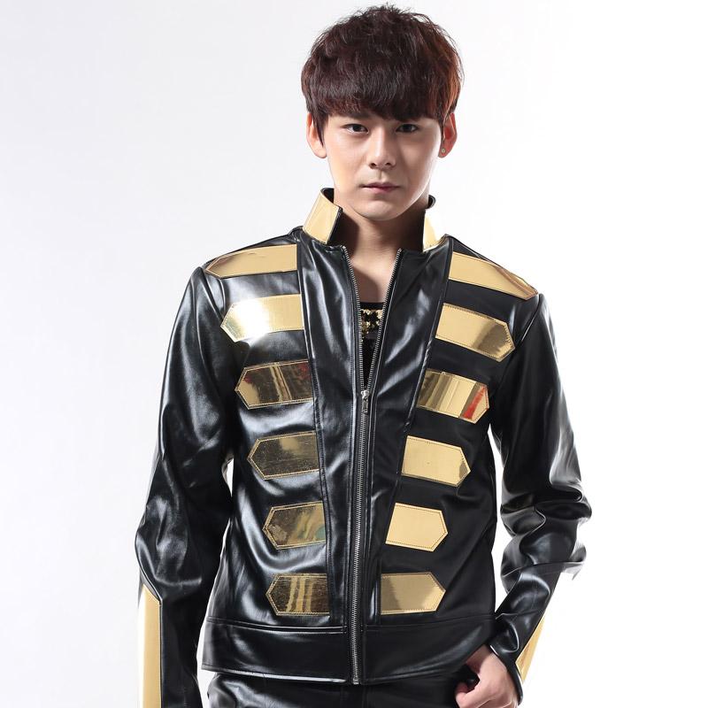 Nightclub Dj Singer Male Fashion Punk Gold Black halley motorcycle leather Jacket Men's clothing male stage show wear costume(China (Mainland))