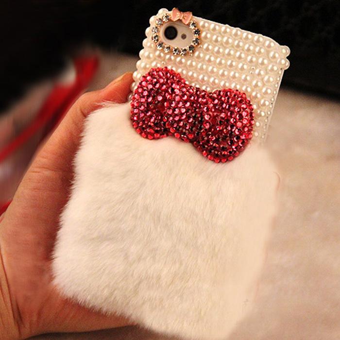 new Cute 3D Bow rhinestone crystal Hard Back case for iphone 5 5s 4 4s 5C diamond real top rex rabbit hair fur plush Soft case(China (Mainland))