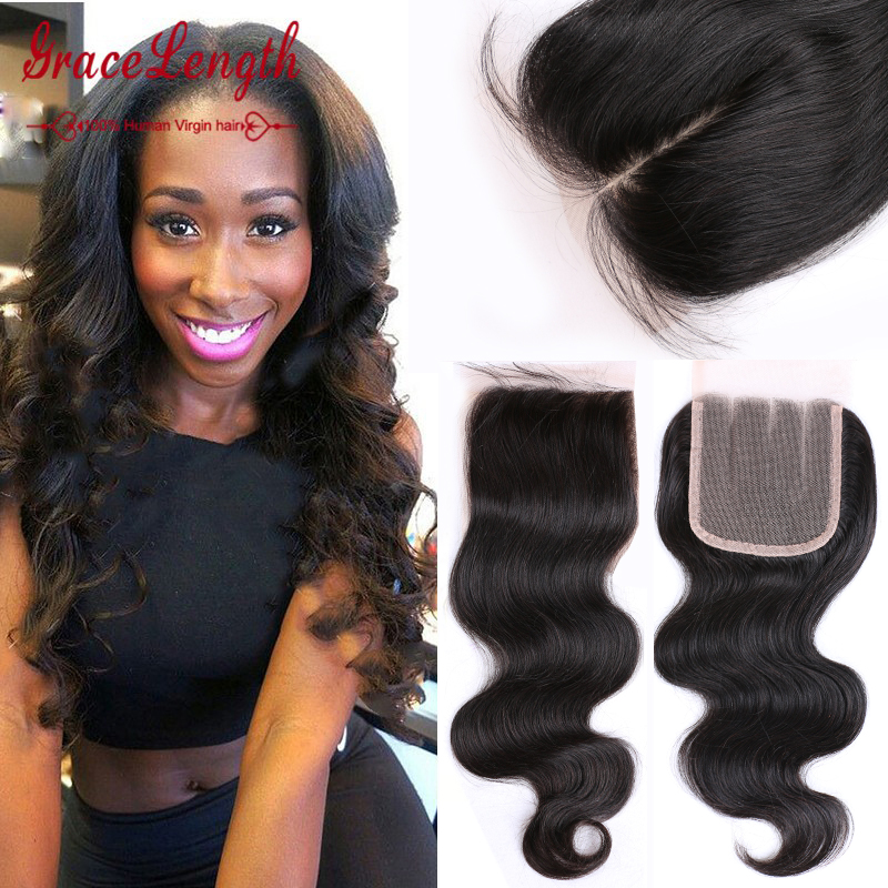 TOP 7A Virgin Peruvian Lace Closure Body Wave Free Middle Part Human Hair Closure Peruvian Body Wave Lace Closure Bleached Knots(China (Mainland))