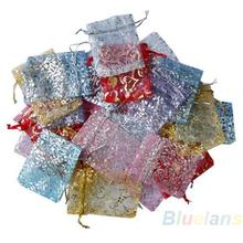 25pcs set Organza Jewelry Wedding Gift Pouch Bags 7x9cm 3X4 Inch Mix Color for Party Holiday