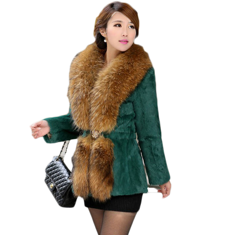 Luxury Faux Fur Coat for Women Autumn and Winter Thick Slim Jacket Brand Design Ladies Raccoon Dog Fur Collar Warm Outerwear(China (Mainland))