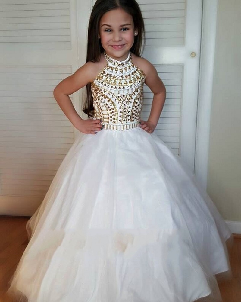 2016 flower girl dresses with crystals halter kids prom for Wedding dresses for young girls