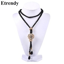 Buy Black Chains Long Necklace Women Bijoux Big Statement Crystal Balls Necklaces & Pendants New Fashion Jewelry Dress Accessories for $3.21 in AliExpress store