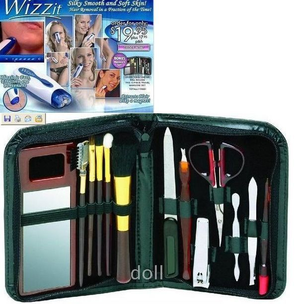 [MOQ 1pcs]Wizzit Hair Remover Manicure Set Auto Trimmer Tweezer As Seen On TV [free shiping](China (Mainland))