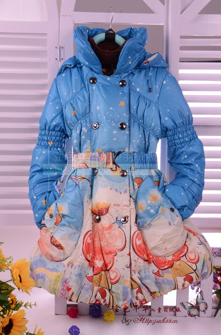 Free shopping Children down jacket 2013 printing soft beauty girl<br><br>Aliexpress