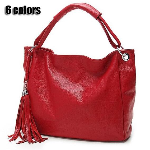 Women leather handbags Tassel shopping bag big bags genuine pu leather women shoulder bags women handbag black tote bag V6G26(China (Mainland))
