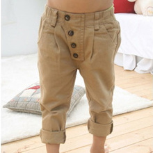 Wholesale 2-7Y Lovely Baby Boy Solid Color Khaki Cotton Blend Straight Casual Pants Free Shipping
