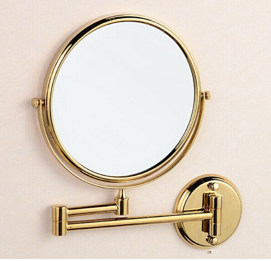 Cosmetic Mirror gold magnifying mirror 8 inch Beauty mirror bathroom makeup mirror brass folding retractable double faced mirror