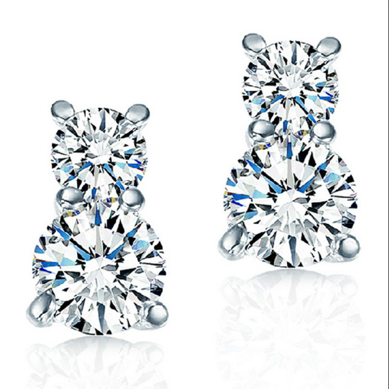 Korea Version CZ 925 Sterling Silver Heart hoist the only female models ear earrings jewelry manufacturers, wholesale(China (Mainland))