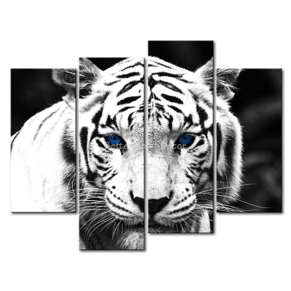 3 piece black white wall art painting blue eyed tiger for Black and white wall art