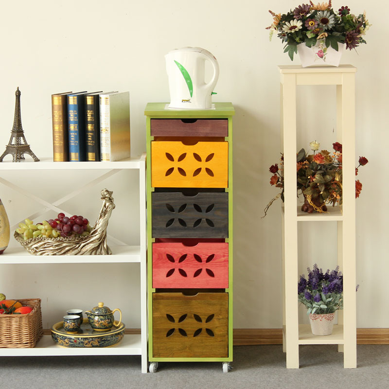 solid wood furniture modern chinese colorful sideboard cabinet multi