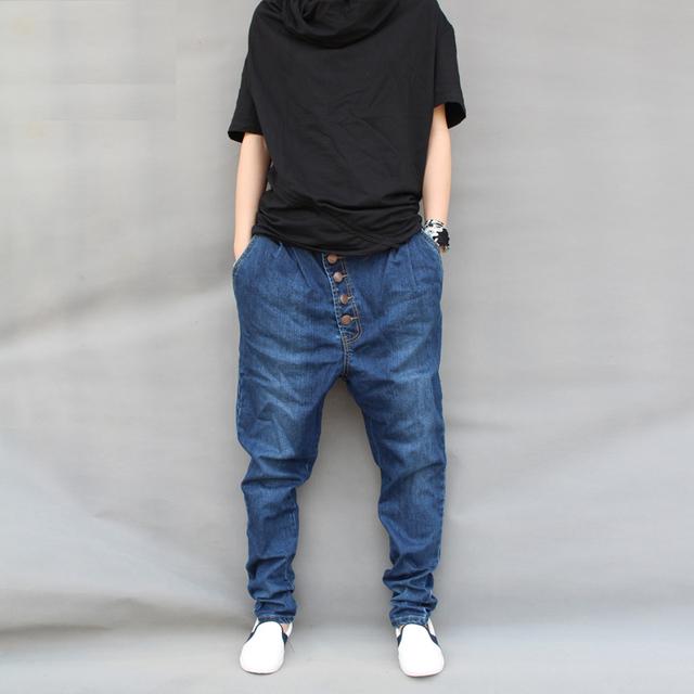 Уникальный дизайн мужская мода джинсовые шаровары мужской весна и осень Большой размер ...