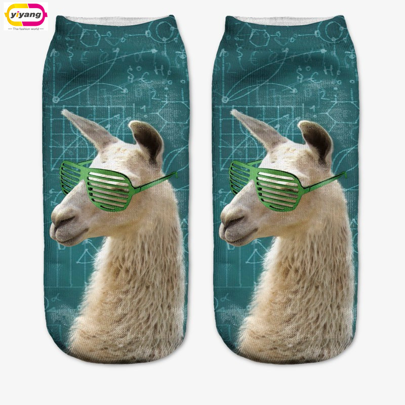 New Fashion Harajuku 3D Animal Print Animal Women Socks Casual Cartoon Socks Unisex Low Cut Ankle Socks(China (Mainland))