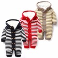 2015 Sweater Jumpsuit Thicken Warm Hooded Baby Rompers Winter Wool Boys Girls Clothes Newborn Clothing Striped