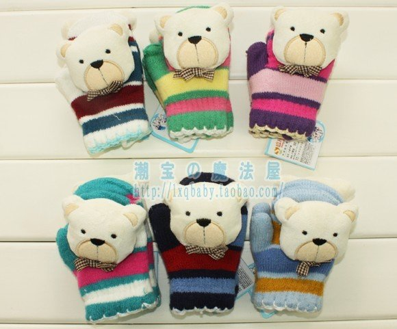 5pair/lot free shipping knitting winter bear baby Gloves, Cartoon kid's Gloves/Mittens for baby/boy&girl(China (Mainland))