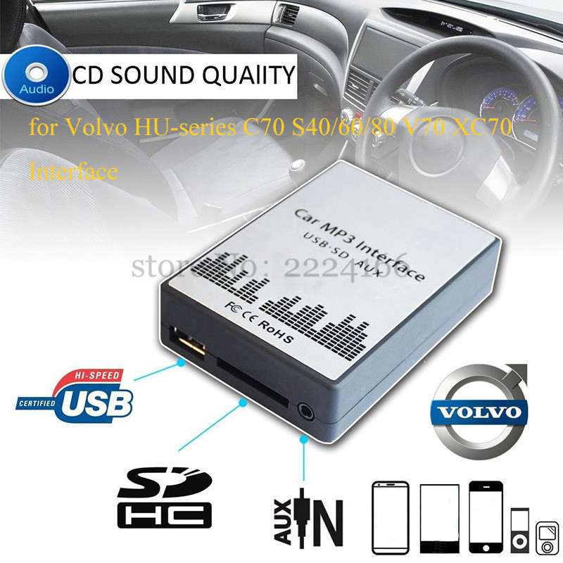 Lonleap USB SD AUX Car MP3 Adapte CD Changer Volvo HU-series C70 S40/60/80 V70 XC70 Interface Charger Car Styling Parts
