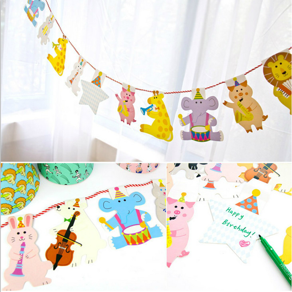 Diy cartoon animals paper flags party bunting decorations for Home goods decorations