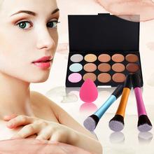 High Quality 15 Color Concealer Palette + Angled Brush + Sponge Puff Makeup Contour Palette Paleta De Corretivo Facial MTY3(China (Mainland))
