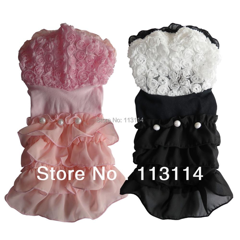 Zwart/roze pet hond jurken wedding rose hoood ruche chiffon rok pet apparel hondenkleding xs sml xl gratis verzending(China (Mainland))
