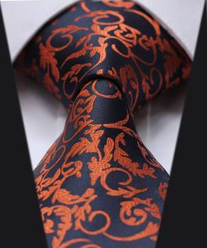 TF2014N Dark Blue Orange Floral 100% Silk New Hot Jacquard Woven Classic Man's Tie Necktie