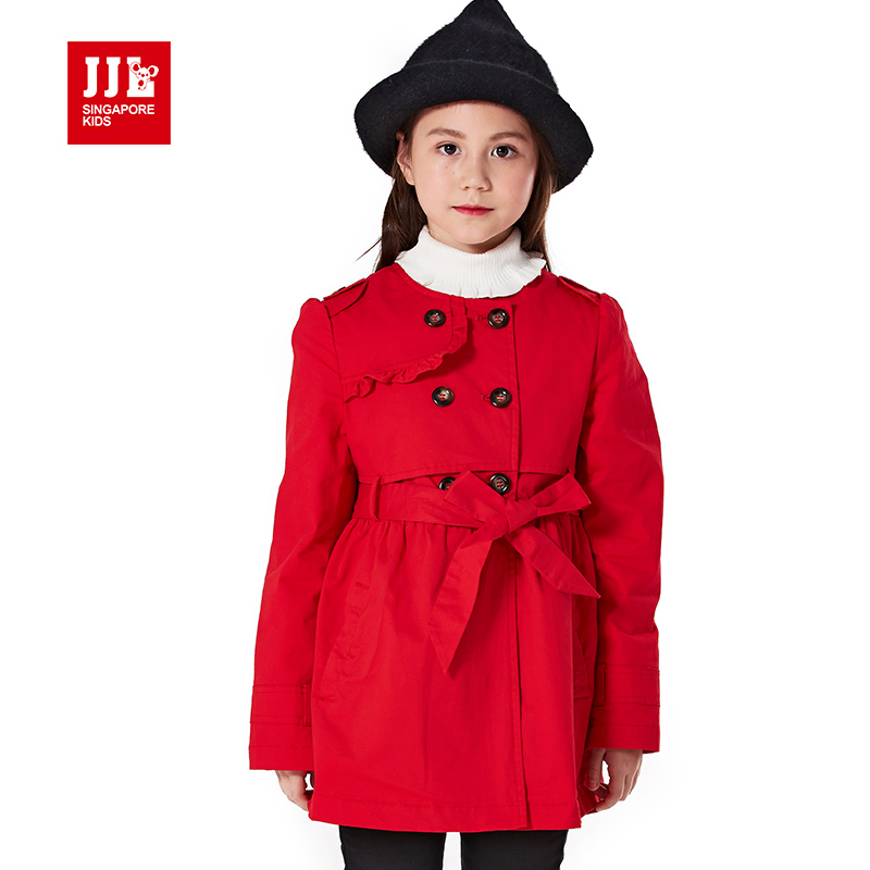new 2015 wind coat cardigan jacket for girls brand trench winter coat  bow belt design girls jacket&amp;outerwear size 6-15y <br><br>Aliexpress