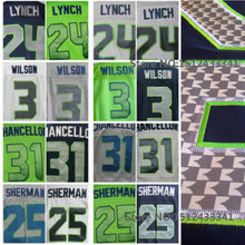 24 Marshawn Lynch 25 Richard Sherman 31 Kam Chancellor Jersey 3 Russell Wilsons jersey Elite Stitsched football jerseys(China (Mainland))