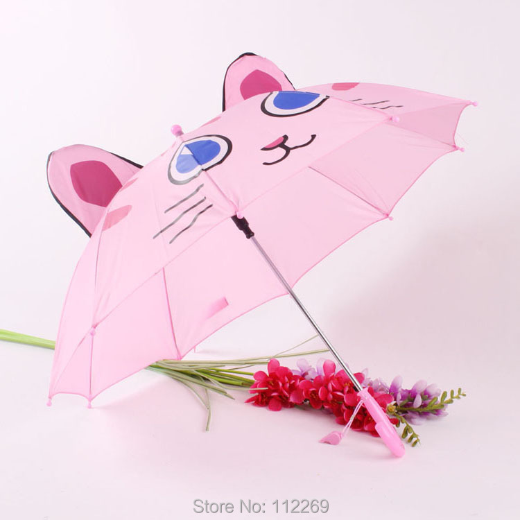 cartoon lovely cat creative kid's straight umbrella ear umbrella auto open with whistle(China (Mainland))