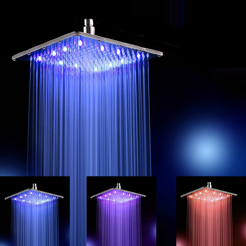 "12"" Inch Water Powered Rain Led Shower Head Without Shower Arm.3 Colors Changed 30 CM * 30 CM Led Showerhead.Led chuveiro ducha(China (Mainland))"