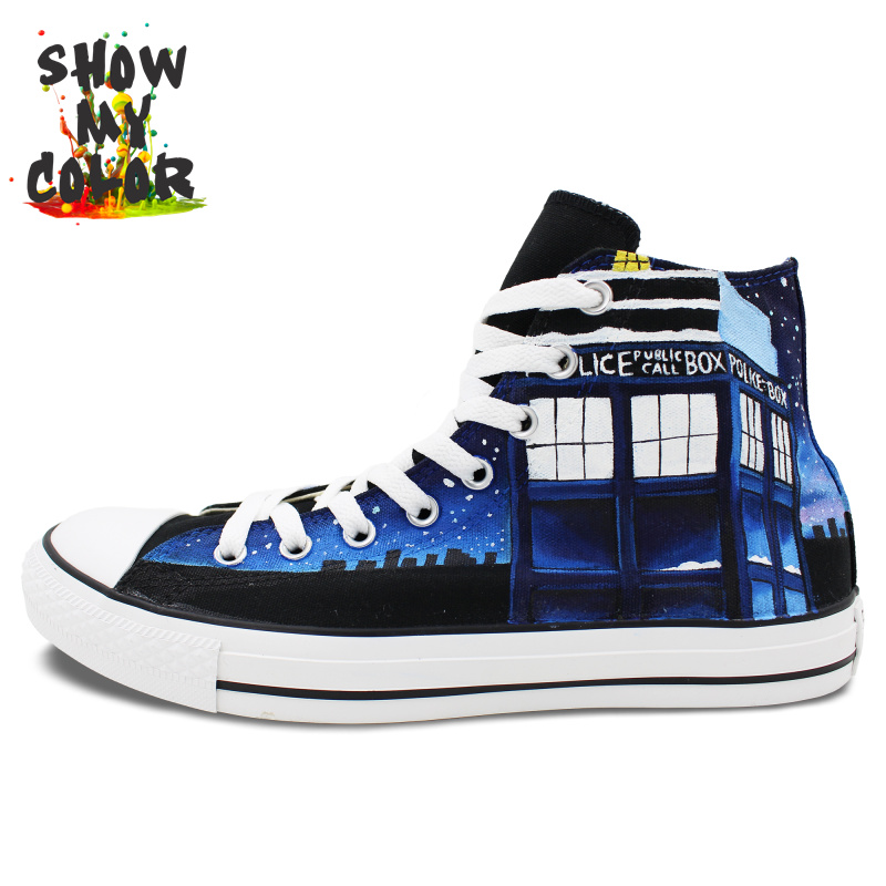 Doctor Who Shoes Tardis Converse Hand Painted Artwork High Top Canvas Sneaker Gifts for Men Women Christmas Birthday Gift