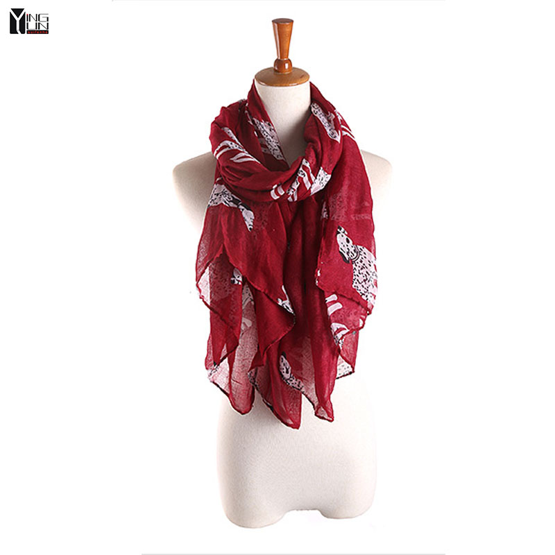 New fashion 2016 hot sale spotty dog print voile woman scarf long square lady shawls women sun protection shawl wrap scarves(China (Mainland))