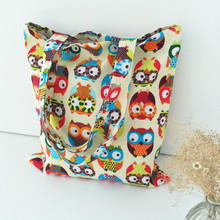 Cotton Canvas Shopping Tote Shoulder Carrying Bag Eco Reusable Bag Print Colorful Owls without Lining NEW(China (Mainland))