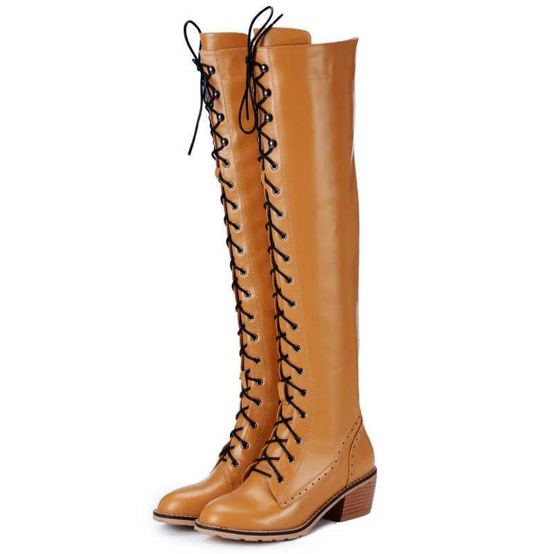 Фотография Large size Thick heel round toe lace up fashion women knee high boots genuine leather+PU winter snow women boots flat boots