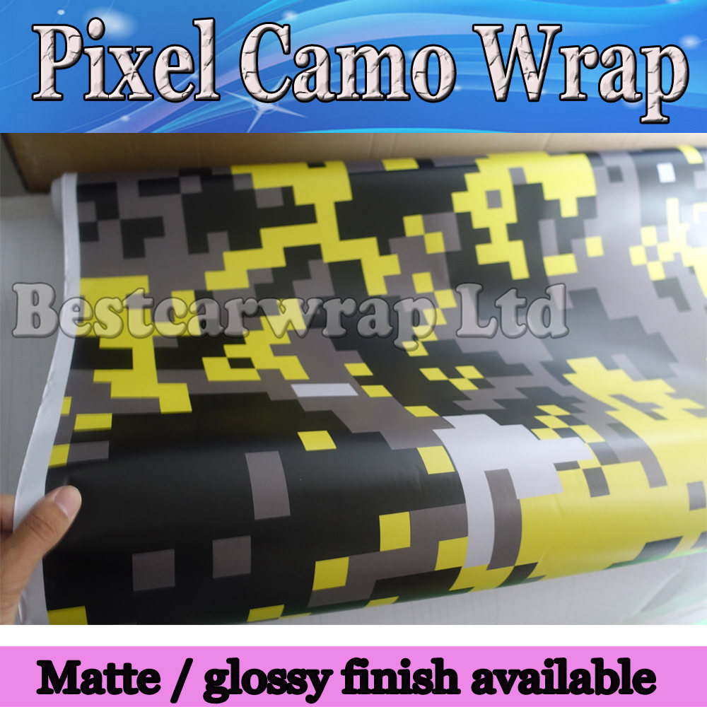 Yellow Digital Camo Vinyl Car Wrap Styling With air bubble Free Pixel Camouflage Graphics Car Sticker Film 1.52x5m 10m/20m/30m(China (Mainland))