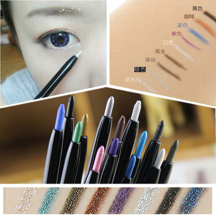 Maquiagem Brand Eye Makeup Waterproof 9 Color Shining Glitter Eye Liner Long-lasting Shimmer White Eyeliner Pencil Makeup Tools(China (Mainland))