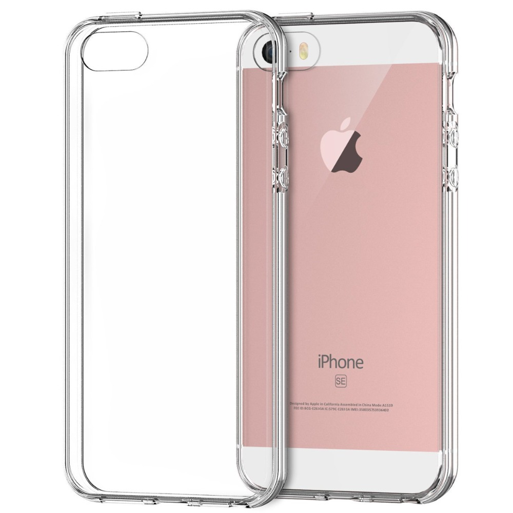 For Apple iPhone SE Case Bumper Cover Shock-Absorption Bumper and Anti-Scratch Clear Back For iPhone 5 5S SE Cases(China (Mainland))