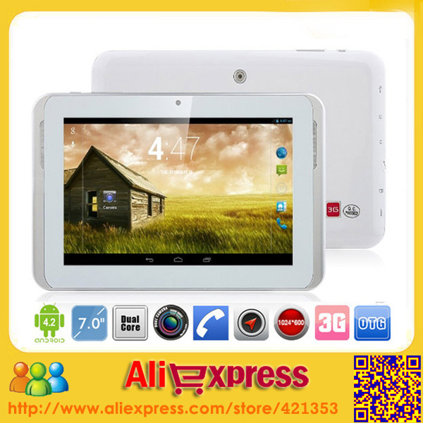 7 inch MTK6572 Dual Core Phone Call 3G Tablet PC Dual Camera Built in GPS Bluetooth Android 4.2 Cheap Phone Tablets 1024*600(China (Mainland))