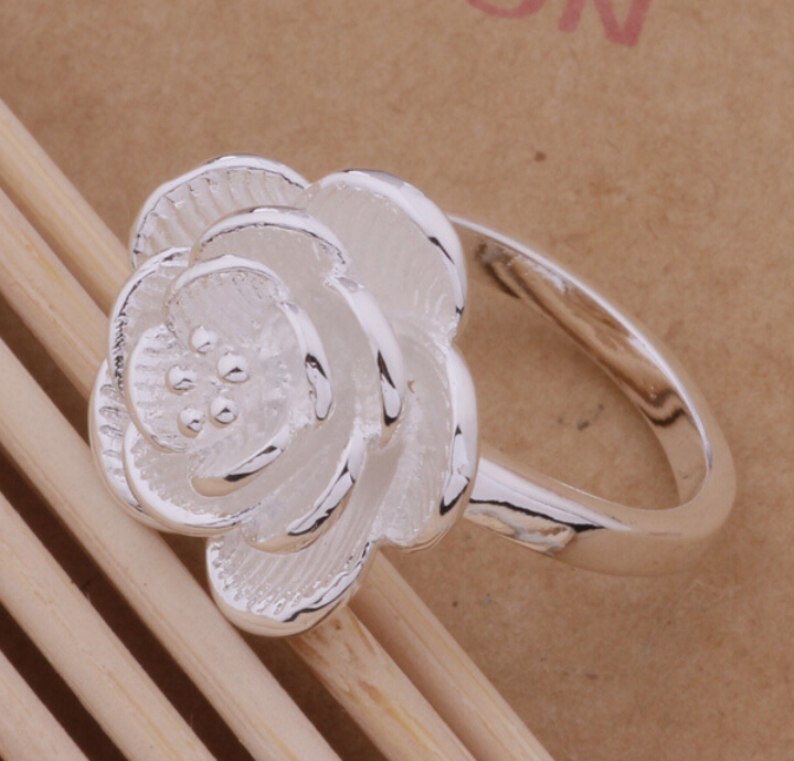 Hot sale jewelry 925 Silver Ring Charming Rose Wedding Rings For Women Size 6 7 8