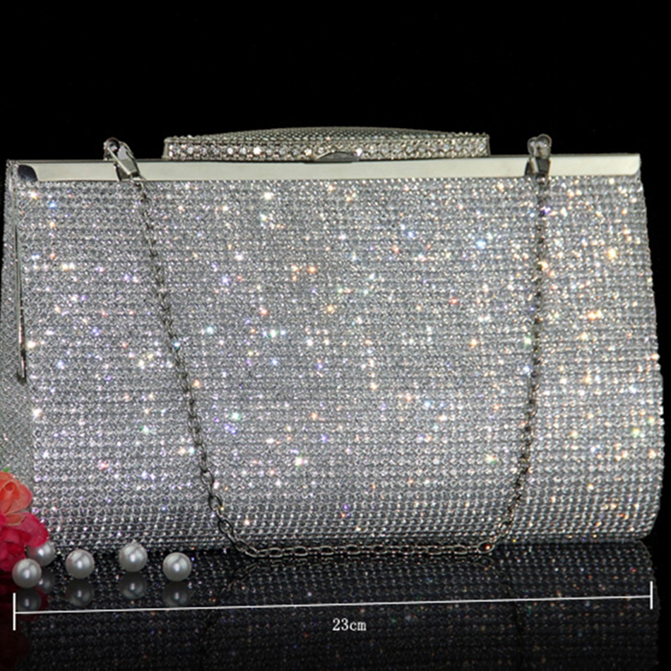 Здесь можно купить  Women Two Sided Rhinestone Crystal Top Evening Bag Handcraft Clutch Messenger Shoulder Chain Handbags Purse Wallet Wedding Party  Камера и Сумки