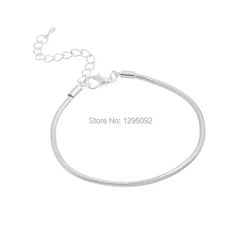 60Pcs Silver Plated Copper Snake Chain Bracelets Fit European Charm Beads Lobster Clasp Fashion Jewelry 19cm<br><br>Aliexpress