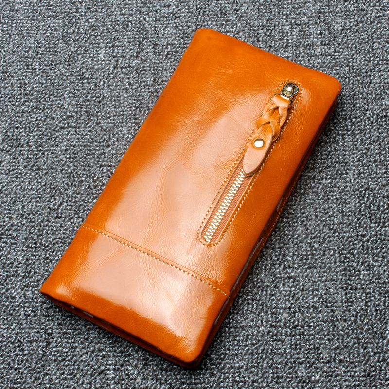 Vintage Women Genuine Leather Wallets Ladies 100% Really Oil Wax Cowhide Solid Hasp Long Purse Female Coin Money Clip JZ5226<br><br>Aliexpress