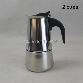 2 Cup / 100 мл нержавеющая сталь мока эспрессо латте перколяторе плитой кофе горшок