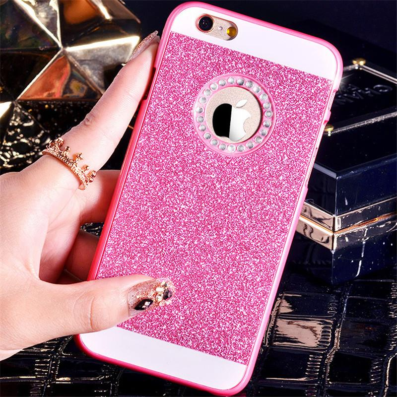 Fashion Glitter Pink Powder Rhinestone Bling Simple Sparkle mobile phone case For iphone 6 6s 6 Plus PC Material Hard case cover(China (Mainland))